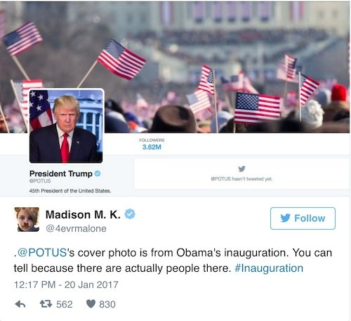 potus trump trolls media with inaugural crowd shots twitter